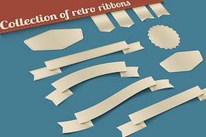 Collection of old retro ribbons