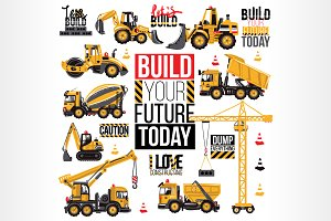 Construction Machinery Icons Cards Graphic Objects Creative Market