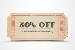 Retro paper sale coupon