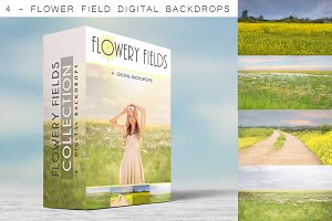 Digital Backdrops - Flowery Fields