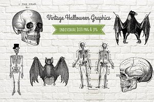 6 Vintage Halloween Graphics PNG