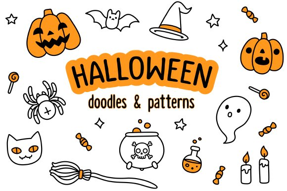 Halloween doodles and patterns ~ Illustrations ~ Creative Market