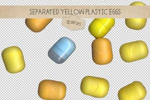 Toys, yellow eggs, scan, separated