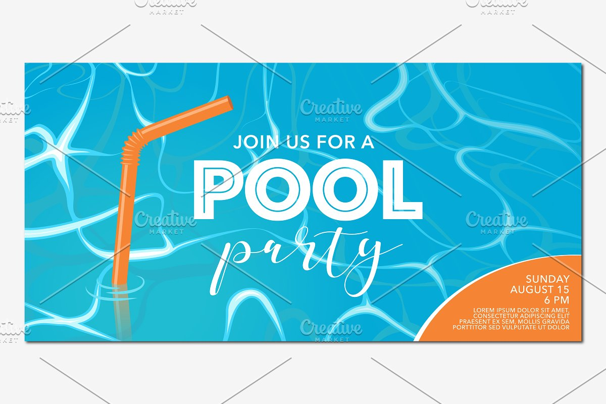 Pool party poster, banner vector in Illustrations - product preview 8
