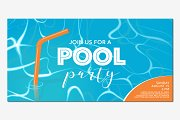 Pool party poster, banner vector