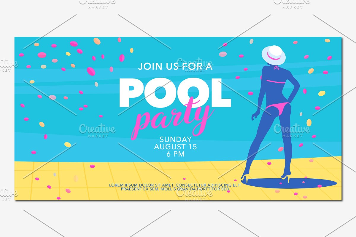 Pool party background vector in Illustrations - product preview 8