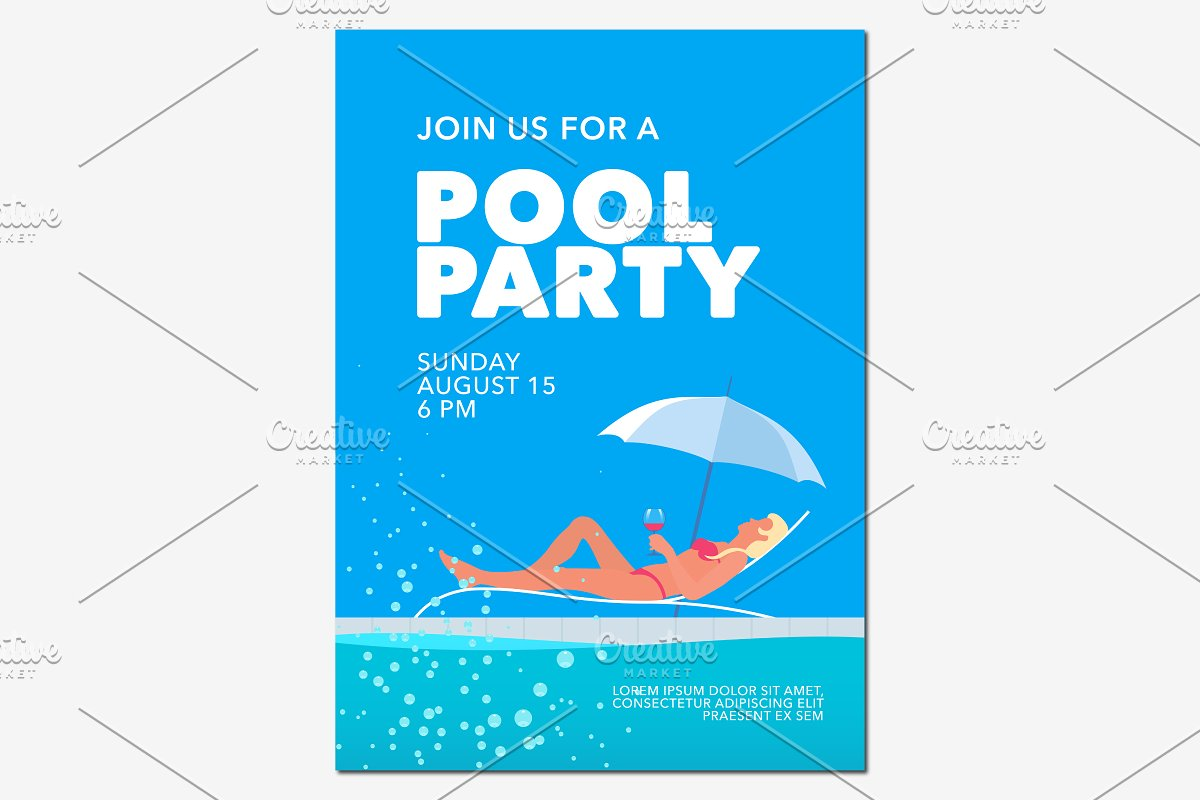 Pool party poster vector in Illustrations - product preview 8