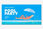 Pool party banner vector