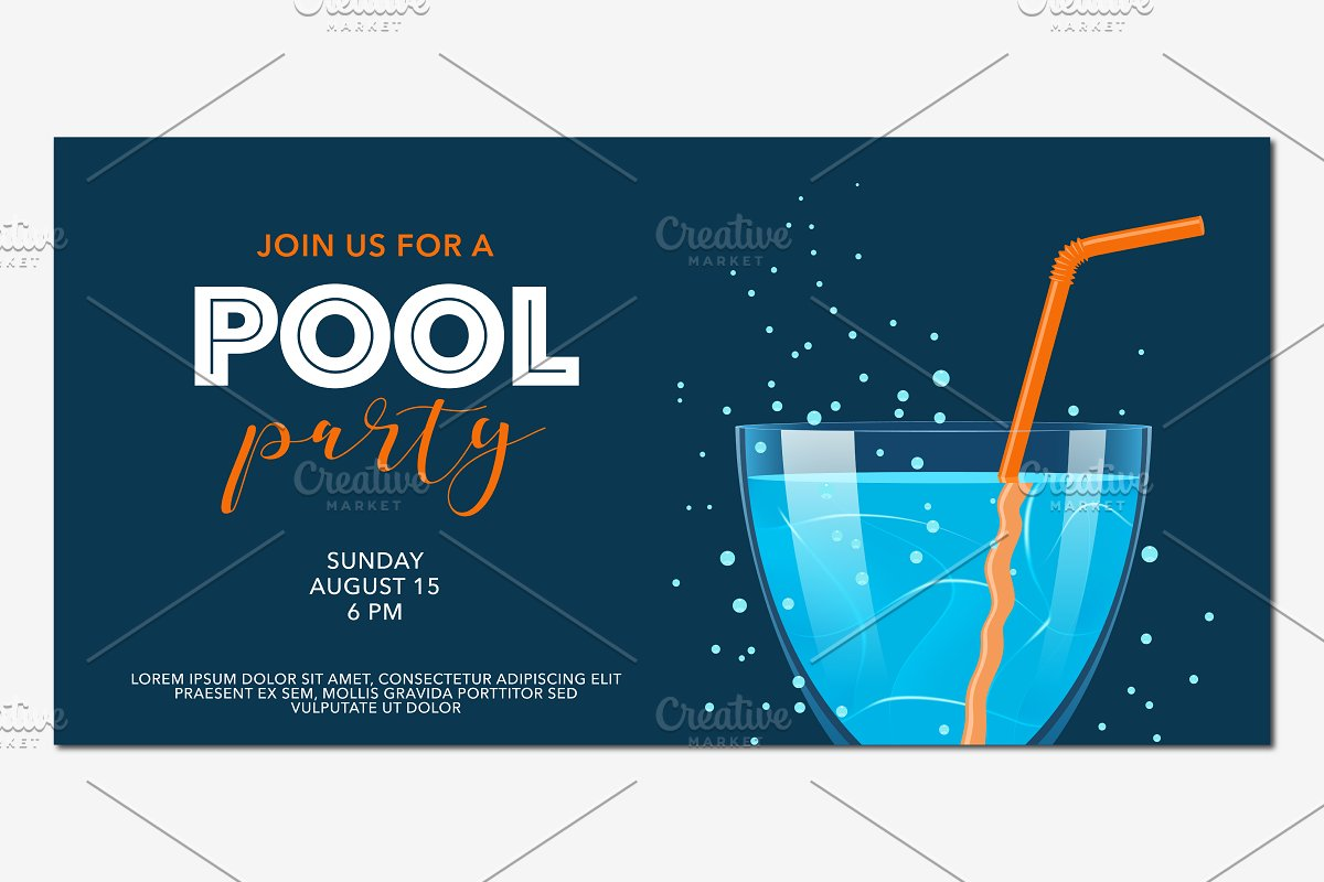 Pool party banner in vector in Illustrations - product preview 8