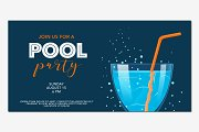 Pool party banner in vector
