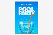 Pool party poster in vector