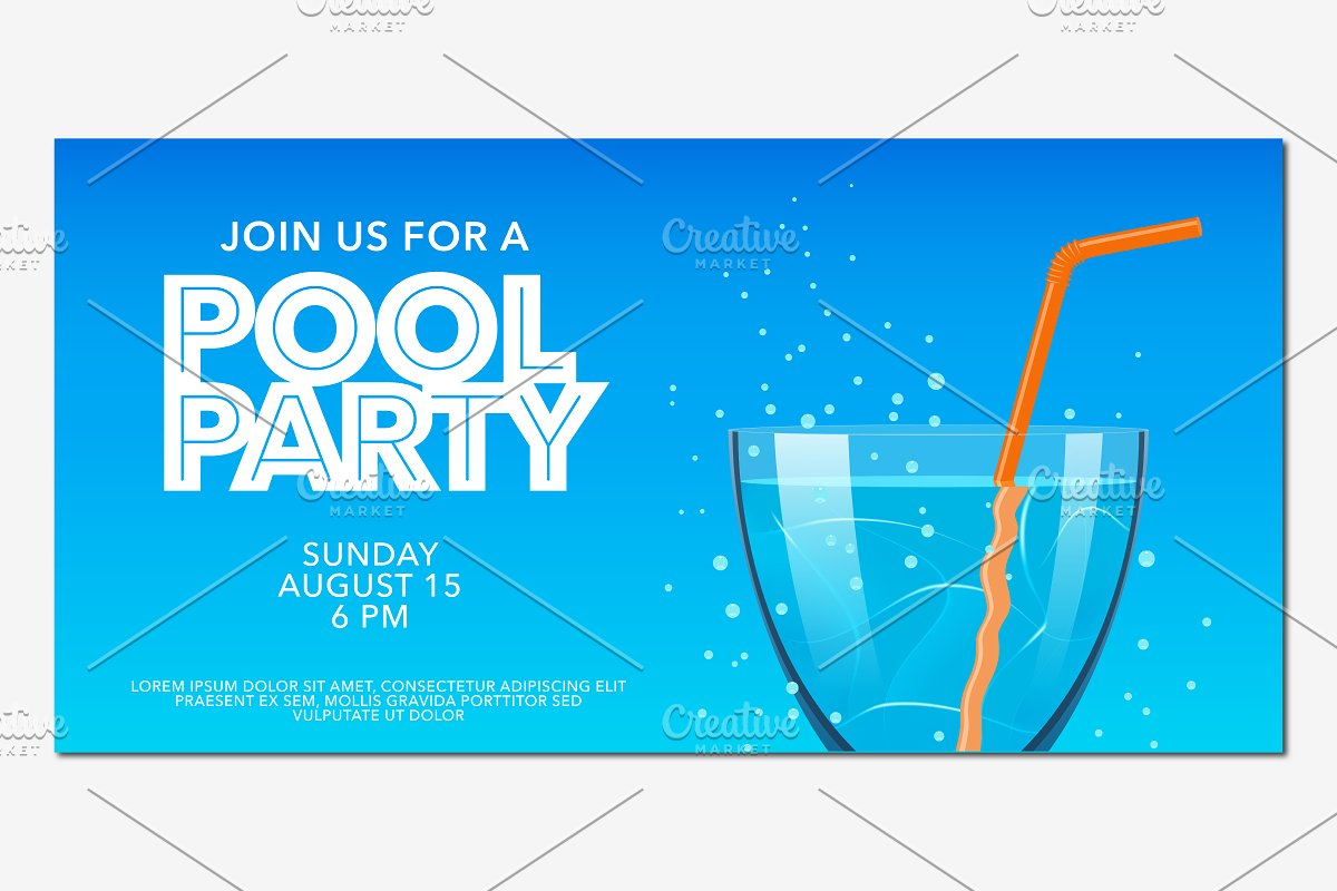 Pool party horizontal banner vector in Illustrations - product preview 8