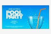 Pool party horizontal banner vector