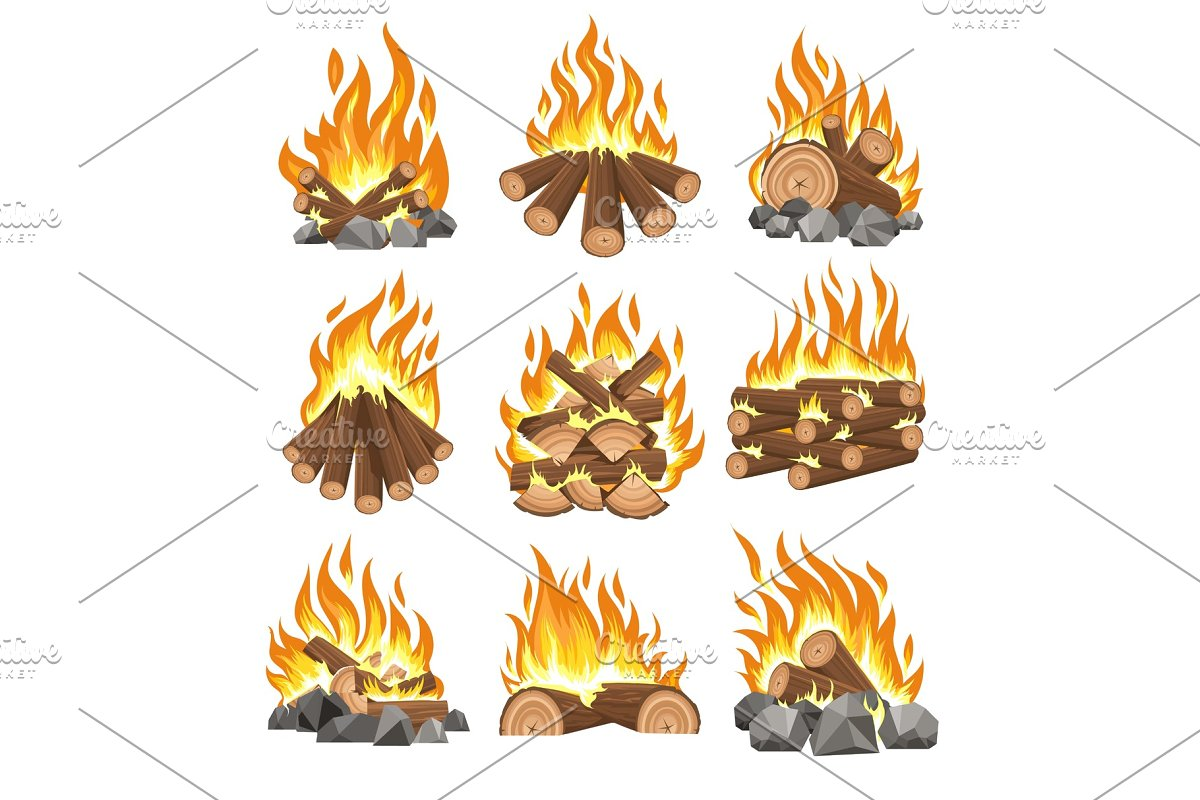 Bonfire firewood set in Illustrations - product preview 8