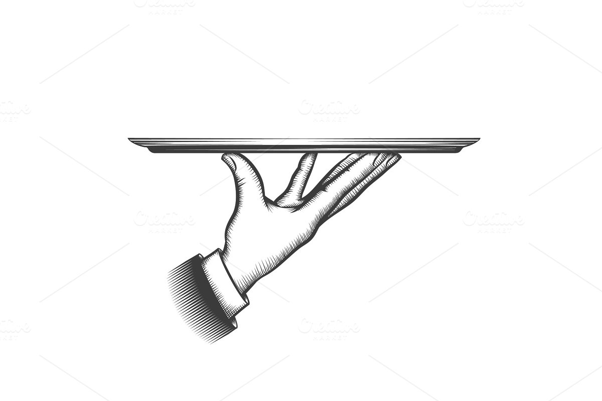 Butler serving tray in Illustrations - product preview 8