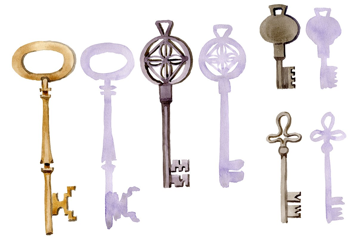 Vintage key magic watercolor png in Illustrations - product preview 8