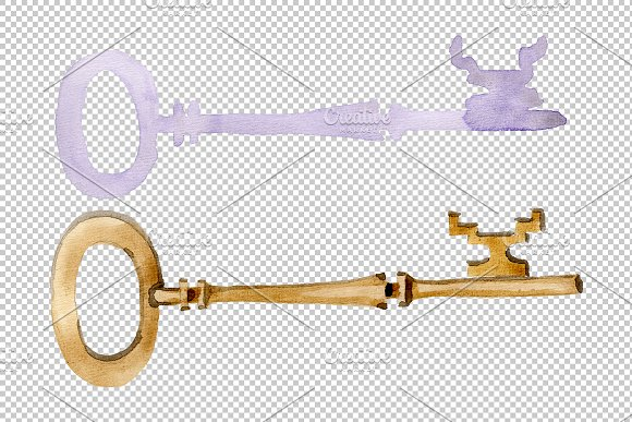 Vintage key magic watercolor png in Illustrations - product preview 1