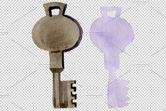 Vintage key magic watercolor png in Illustrations - product preview 2
