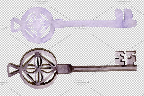 Vintage key magic watercolor png in Illustrations - product preview 3