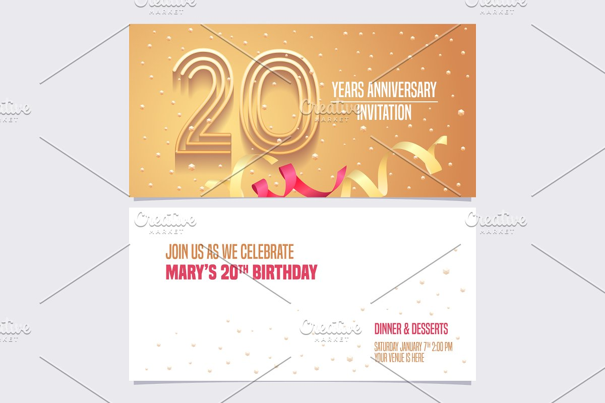 20th anniversary invitation vector in Illustrations - product preview 8