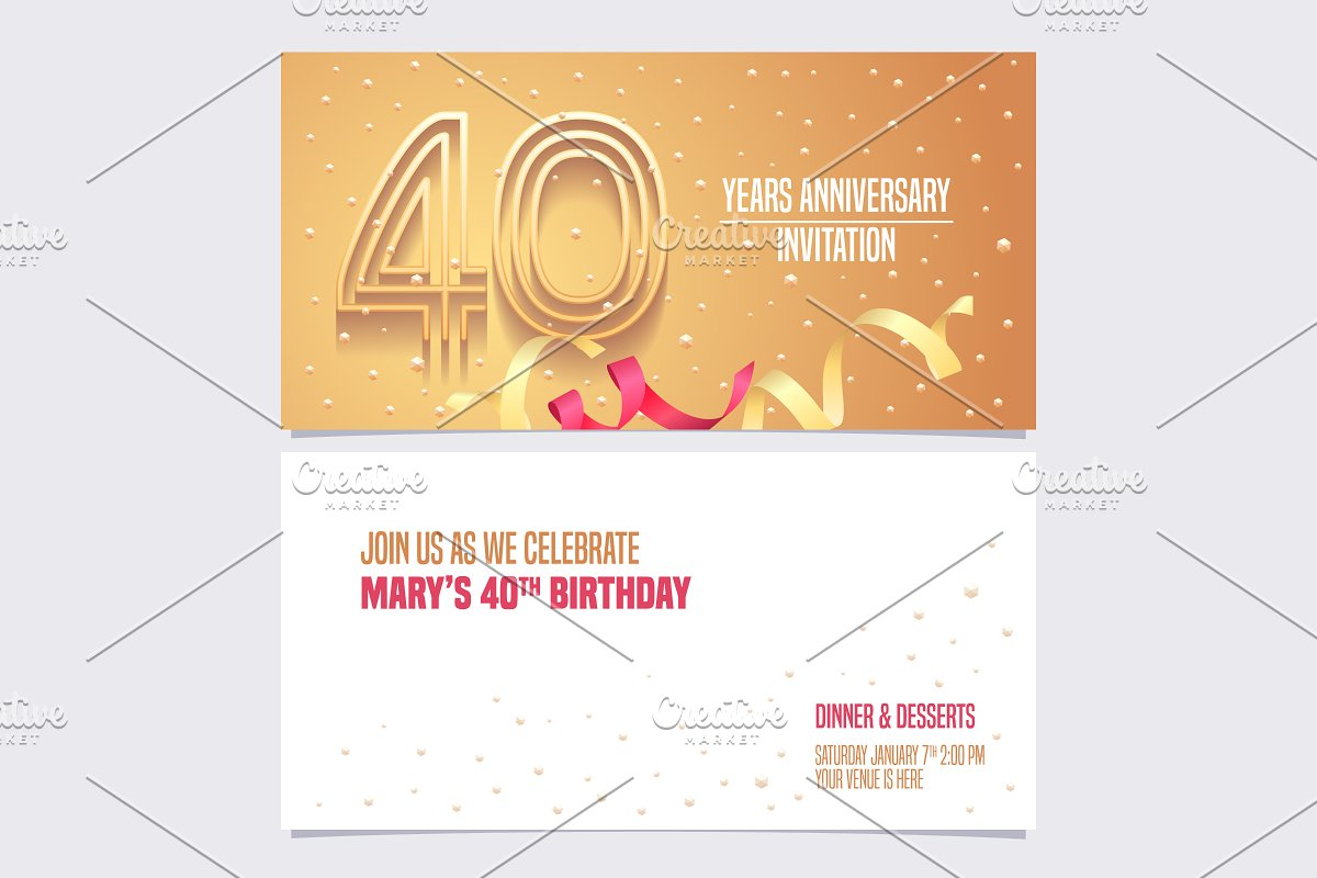 40th anniversary invitation vector in Illustrations - product preview 8