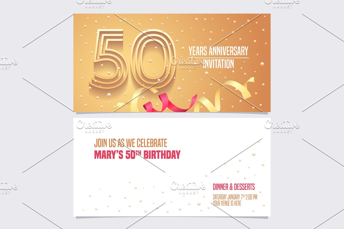 50th anniversary invitation vector in Illustrations - product preview 8