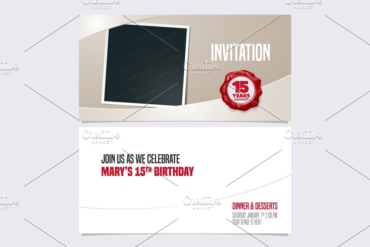 15th anniversary invitation vector in Illustrations - product preview 8