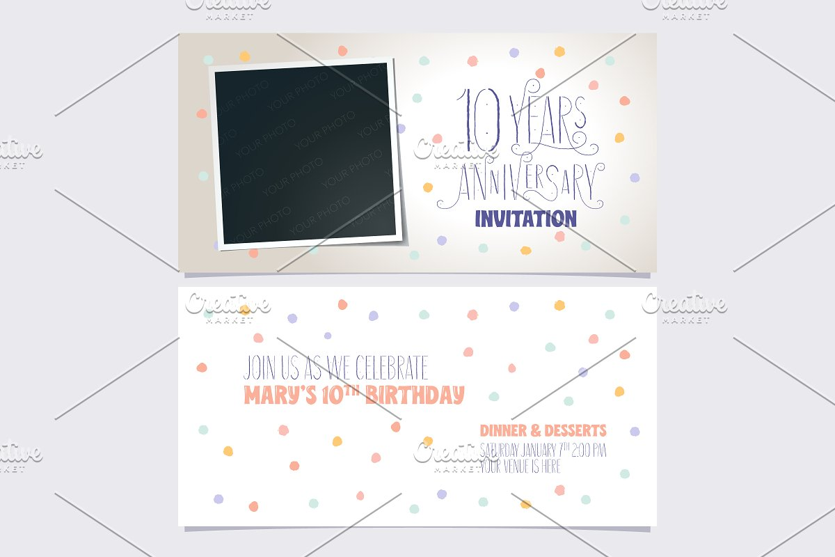 10th anniversary invitation vector in Illustrations - product preview 8