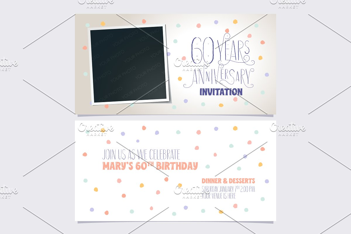 60th anniversary invitation vector in Illustrations - product preview 8
