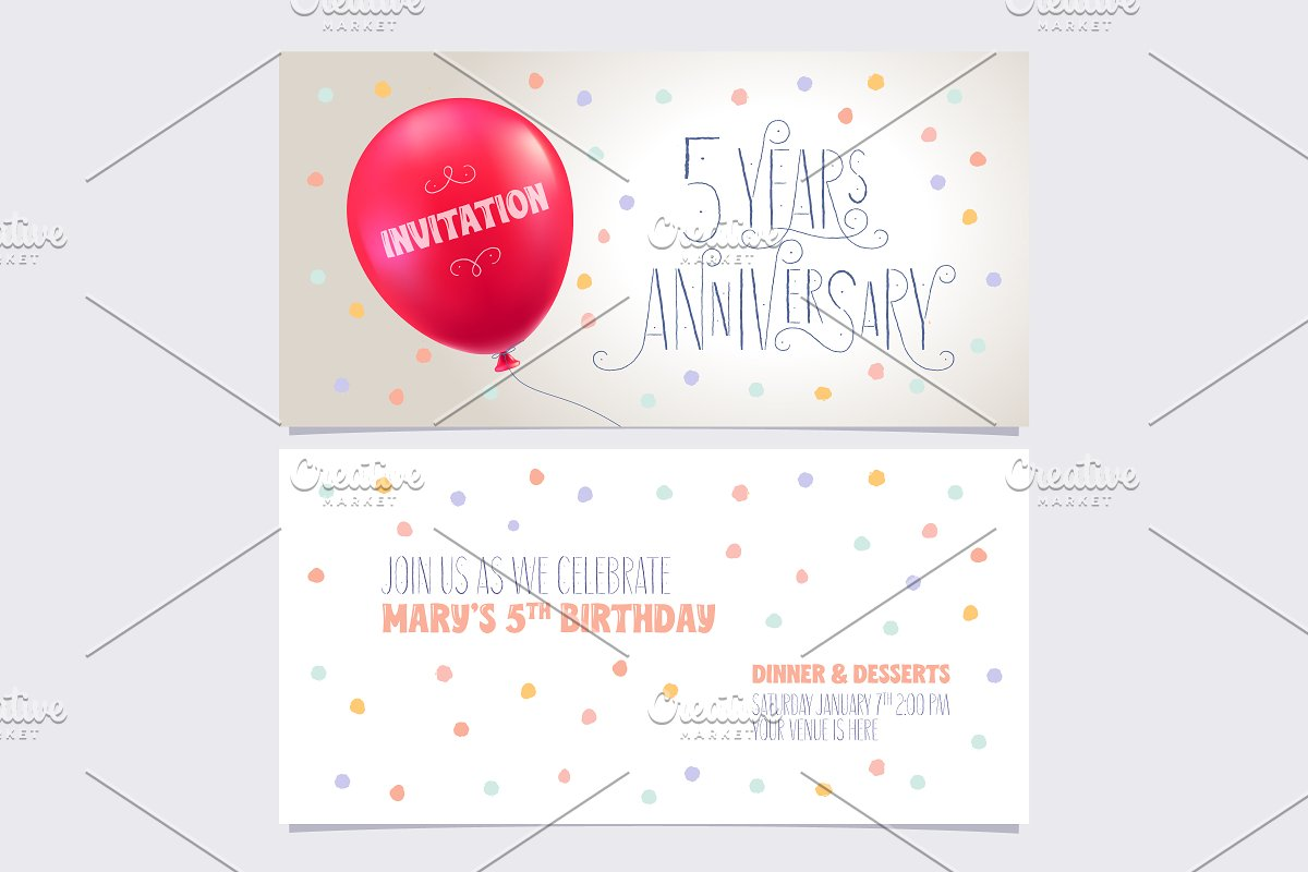 5 years anniversary invite vector in Illustrations - product preview 8