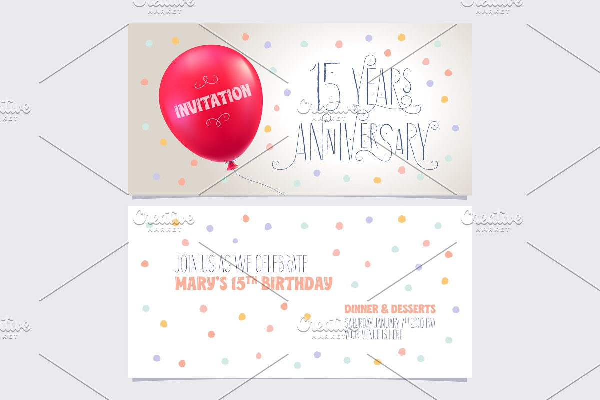 15th anniversary invite vector in Illustrations - product preview 8