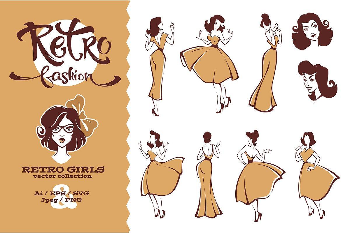 Retro Fashion in Illustrations - product preview 8