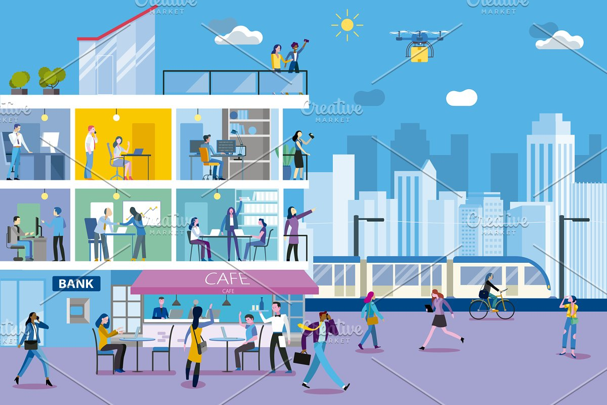 Office Building and City Landscape in Illustrations - product preview 8