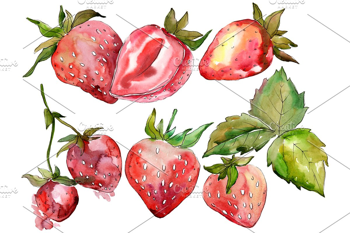 Strawberry Marmolada watercolor png in Illustrations - product preview 8
