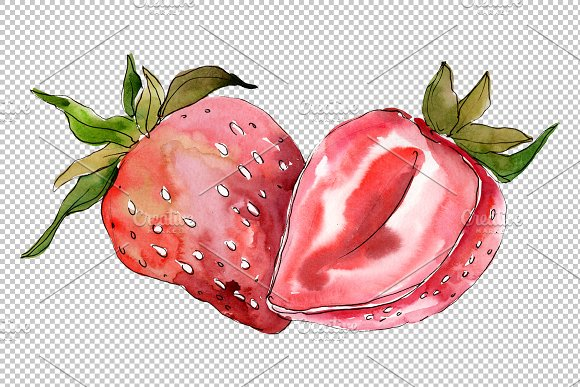 Strawberry Marmolada watercolor png in Illustrations - product preview 1