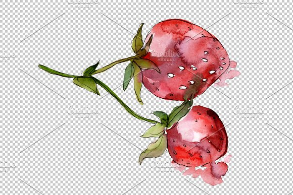Strawberry Marmolada watercolor png in Illustrations - product preview 3