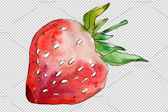 Strawberry Marmolada watercolor png in Illustrations - product preview 5