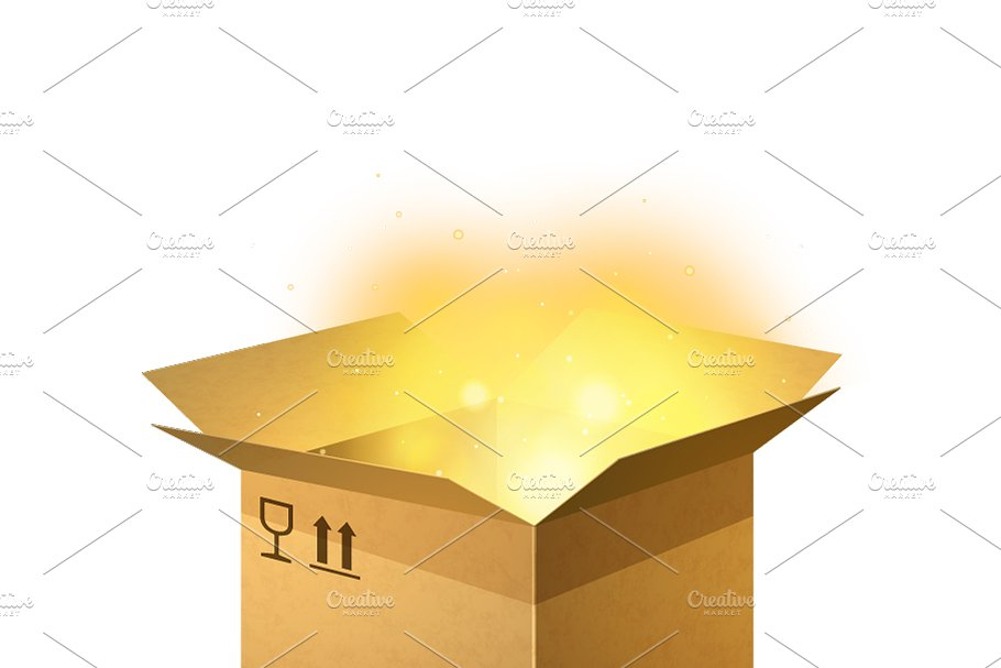 Open cardboard parcel with light in Objects - product preview 8