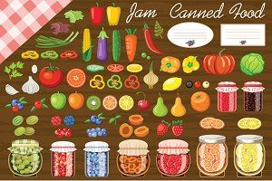 Set of fruit and vegetables for jam