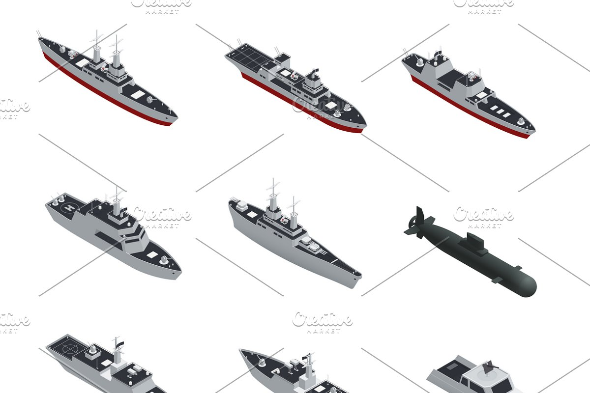 Military boats isometric icon set in Icons - product preview 8