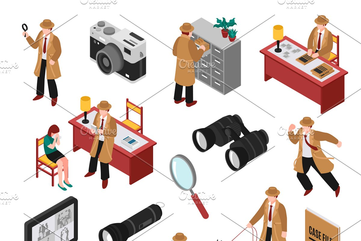 Detective isometric set in Icons - product preview 8