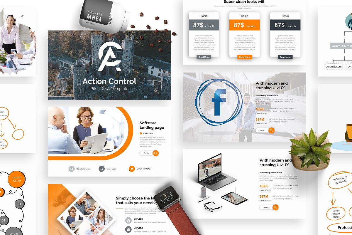 Action Control Pitch Deck Powerpoint ~ PowerPoint Templates