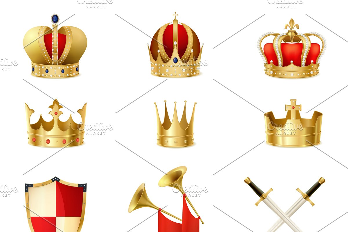 Set of realistic golden royal crowns in Icons - product preview 8