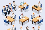 Recruitment isometric people set