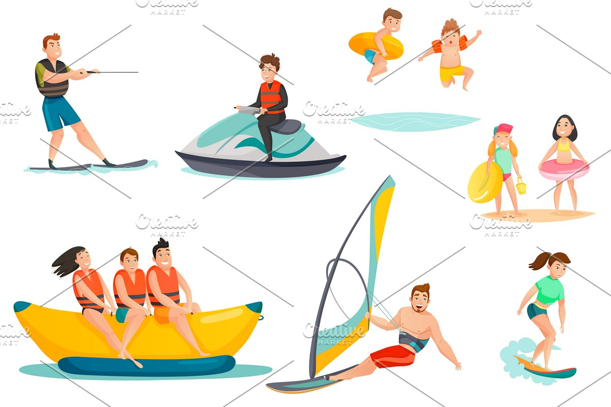 Summer water activities set in Icons - product preview 8