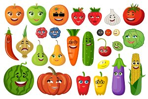 Fruit and vegetables with persons
