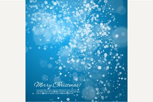 Blue Christmas background with bokeh