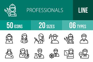 50 Professionals Line Icons