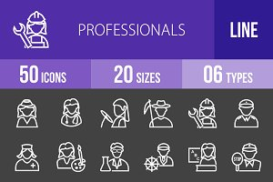 50 Professionals Line Inverted Icons