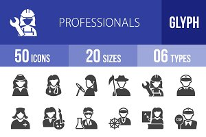 50 Professionals Glyph Icons